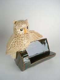 Vintage Business Card Case Owl Business Card Holder Office Desk Decor White Ceramic Glazed