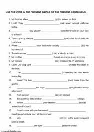 present simple and present continuous interactive worksheets