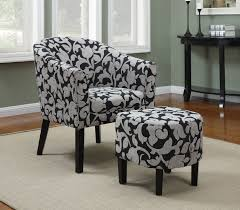 White Armchair With Ottoman Black And White Floral Accent Chair With Round Ottoman Set