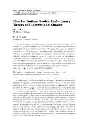 Home Evolutionary Healthcare How Institutions Evolve Evolutionary Theory And Institutional