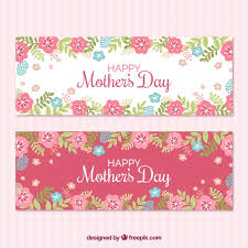 flowers for mothers day banners with blue and pink flowers for mother u0027s day vector free