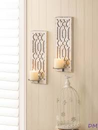 Yankee Candle Wall Sconce 2 Pc Candle Sconce Set Deco Mirror Wall Pillar Holder Geometric