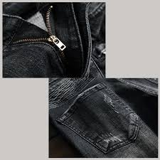 new style fold small feet holes mens jeans brand luxury black