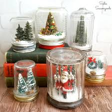 diy waterless snowglobes with vintage jars for decor