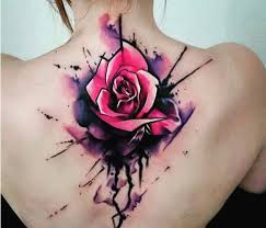 watercolor flower on back for tattoos
