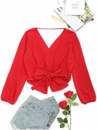 s blouse open back self tie bowknot blouse blouses s zaful