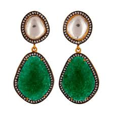 green drop earrings quartz and green aventurine drop earrings carouseljewels