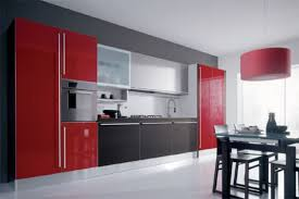 Glossy Kitchen Cabinets Striking Impresseive Black And Red Glossy Kitchen Interior Design