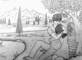 simple pencil sketches of couples drawing of sketch