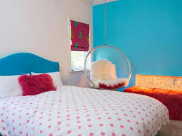 Teal Accent Wall by Bubble Shaped Hanging Chair For Teen Bedroom Decorating Ideas With