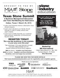 list please predict who the texas stone summit presented by the marble institute of america