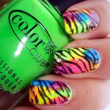 nail designs for short nails folourful neon zebra nail designs