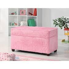 Storage Bench Fabric Amazon Com Kids Storage Bench In Fuzzy Pink Fabric Kitchen U0026 Dining