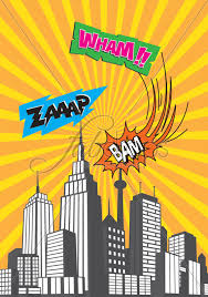 Photo Backdrops For Parties Fab Vinyl Comic Book City Background