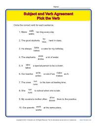 pick the verb subject verb agreement worksheets