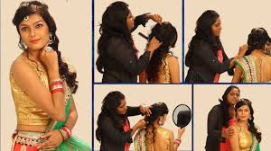 simple indian bridal hairstyle floral curls wedding hairstyle