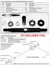 w10435302kit sears kenmore elite oasis washer tub bearing repair kit