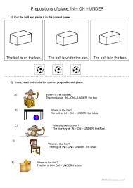 prepositions of place in on under worksheet free esl printable