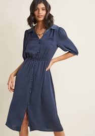 dress image satin midi shirt dress in blue modcloth