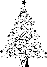 clipart starry christmas tree silhouette