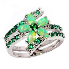 fire opal rings images Cheap blue fire opal rings green opal flower shape synthetic jpg