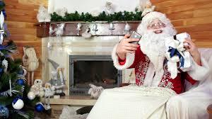 santa taking selfie with presents papa noel making selfie with