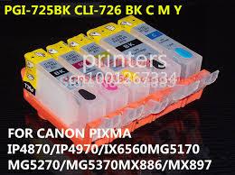 reset pixma ix6560 pgi 725 cli726 refillable ink cartridge for canon pixma ip4870