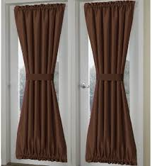 solid brown french door curtain panels