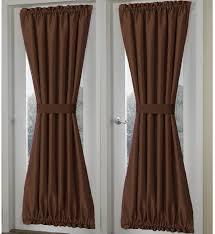 Curtain Door Panels Solid Brown French Door Curtain Panels