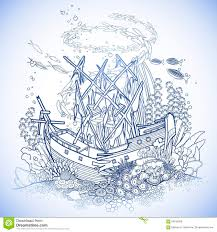 ancient sunken ship and coral reef stock vector image 69180859
