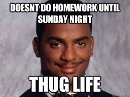 Sunday Night Meme - doesn t do homework until sunday night thug life pictures photos