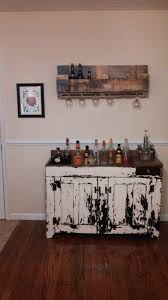 Home Decor Made From Pallets Distressed Dry Sink Bar With A Beer Rack Made From Pallets Home