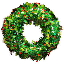 christmas tinsel tinsel christmas wreath 20 non lighted green with berry