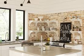 kitchen with brick backsplash exposed brick wall in kitchen contemporary kitchen