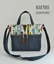 pattern for tote bag with zipper pdf bag pattern purse instant download alice purse pdf