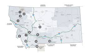 Montana Map Cities by Cross Country Skiing