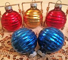 10 vintage mid century shiny brite glass christmas ornaments with box