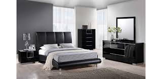 Contemporary Nightstand Ls 8272 Bl Leather Black Platform Bed Global Furniture