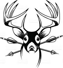 whitetail deer head with crossing hunting arrows stock vector art