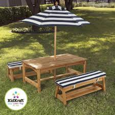 Patio Set With Umbrella by Outdoor U0026 Garden Best Wooden Outdoor Patio Table And Benches With