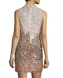 french connection cosmic beam embellished mini dress in metallic