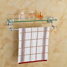 Bathroom Glass Shelves With Towel Bar Chrome Polished Bathroom Glass Shelf Wall Mount Cosmetic Holder