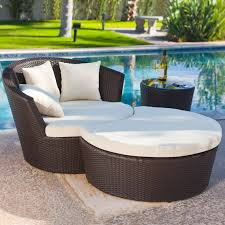 Wicker Lounge Chair Design Ideas Luxurious Wicker Outdoor Chaise Lounge Chair With Curved Ottoman