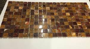 red onyx 1x1 polished mosaics meshed on 12