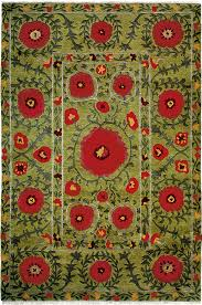 Tibetan Area Rug Field Of Poppies Green A Contemporary Southwest Style