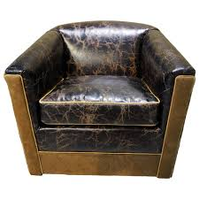 Leather Swivel Club Chairs Distressed Leather U0026 Cowhide Swivel Glider
