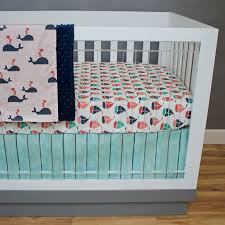 Teal Crib Bedding Teal And Coral Baby Bedding Modern Bedding Bed Linen