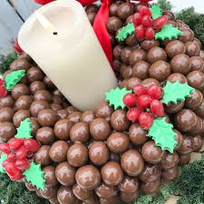 chocolate and malteser holly wreath sweet tree by browns