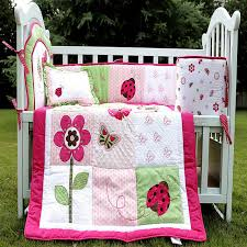 Ladybug Crib Bedding Set Ladybug Flowers Butterfly Cotton Baby Crib Bedding Set For