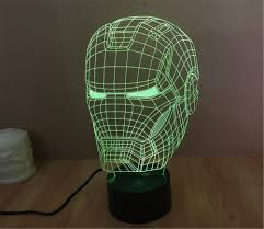 smartera 3d optical illusion iron man helmet panel model lighting